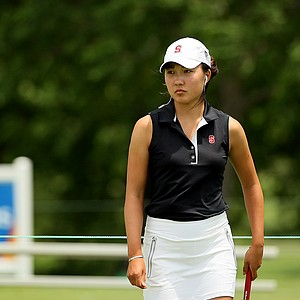 Stanford's Lauren Kim posted a 67 in the strong winds during the first round the Women's 2014 Golf Championships at Tulsa Country Club