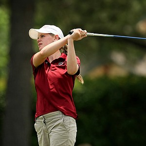 South Carolina's Sarah Schmelzel hits her tee shot at No. 2 during the first round the Women's 2014 Golf Championships at Tulsa Country Club.