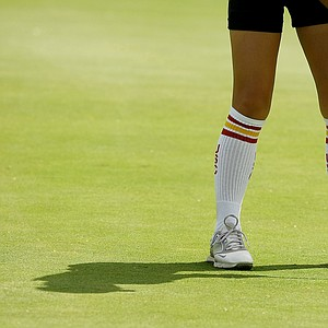 A few of the USC players wore knee highs during the first round the Women's 2014 Golf Championships at Tulsa Country Club.