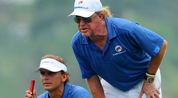 Miguel Angel Jimenez and Joost Luiten, aiming to join the 2014 Ryder Cup European team, were the only EurAsia Cup teammates to win their singles matches for Europe.