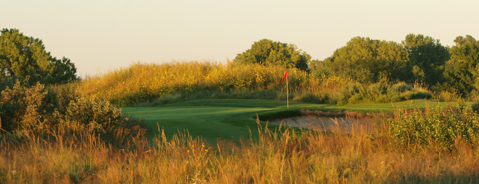 The 10th hole at Prairie Dunes CC in Hutchinson, Kan., host of the 2014 NCAA Men's Division I Championship.