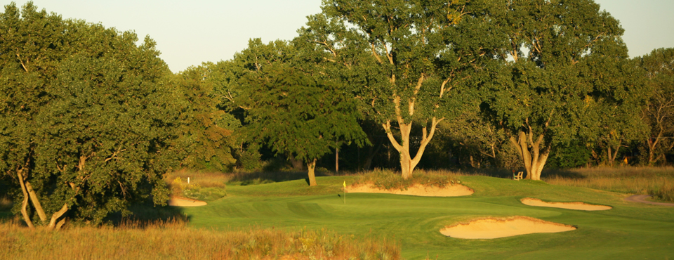The sixth hole at Prairie Dunes CC in Hutchinson, Kan., host of the 2014 NCAA Men's Division I Championship.