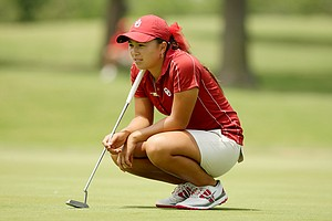 Oklahoma's Alexandra Kaui waits to putt at No. 18 during the second round of the 2014 NCAA Division 1 Women's Golf Championships at Tulsa Country Club.