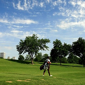 Stanford's Mariah Stackhouse leaves No. 8 during the second round of the 2014 NCAA Division 1 Women's Golf Championships at Tulsa Country Club.