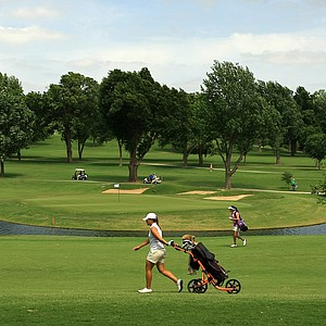 A view of the treachorous No. 6, par-3, during the second round of the 2014 NCAA Division 1 Women's Golf Championships at Tulsa Country Club.