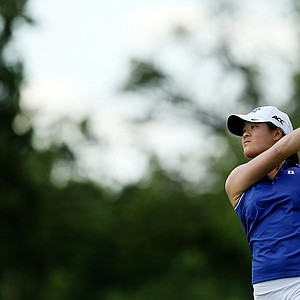 Duke's Celine Boutier during Round 3 of the Women's 2014 NCAA Division 1 Golf Championships at Tulsa Country Club. Duke is in first place heading into the final round.