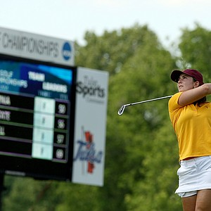 Arizona State's Emilie Alonso hits her tee shot at No. 6 during Round 3 of the Women's 2014 NCAA Division 1 Golf Championships at Tulsa Country Club.(