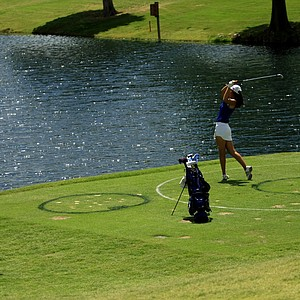 Duke's Sandy Choi hits from the drop zone at No. 6 during Round 3 of the Women's 2014 NCAA Division 1 Golf Championships at Tulsa Country Club.