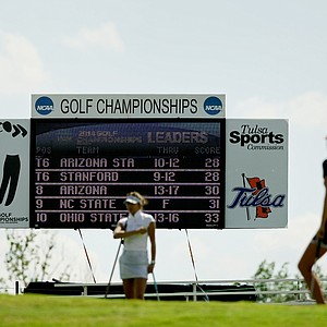 The leaderboard at No. 18 during Round 3 of the Women's 2014 NCAA Division 1 Golf Championships at Tulsa Country Club.