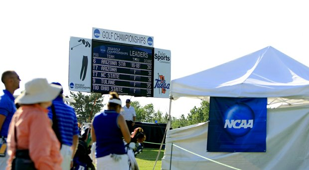 The leaderboard at No. 18 during the third round of the 2014 NCAA Division 1 Women's Golf Championships at Tulsa Country Club.