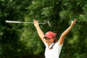 Oklahoma's Alexandra Kaui at No. 18 during the final round of the Women's 2014 NCAA Division 1 Golf Championships at Tulsa Country Club.