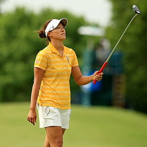USC's Annie Park reacts during the final round of the Women's 2014 NCAA Division I Golf Championships at Tulsa (Okla.) Country Club.