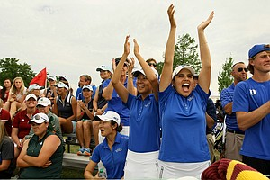 Duke's Alejandra Congrejo, Sandy Choi and Yu Liu, cheer their teammates in as they finish during the final round of the Women's 2014 NCAA Division 1 Golf Championships at Tulsa Country Club.
