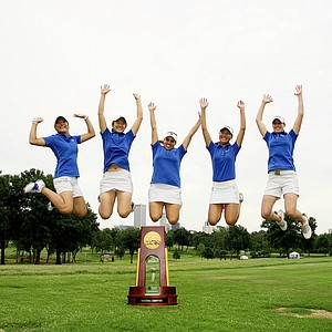 Duke's team leaps in the air after winning the Women's 2014 NCAA Division 1 Golf Championships at Tulsa Country Club.