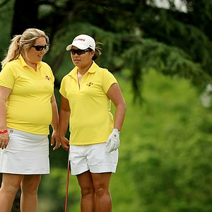 Iowa State head coach Christie Martens with Chonlada Chayanun during the final round of the Women's 2014 NCAA Division 1 Golf Championships at Tulsa Country Club.