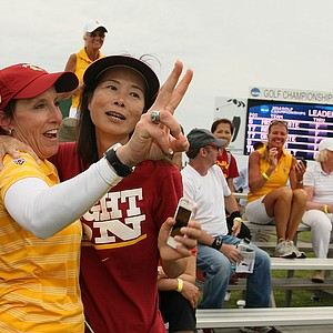 Doris Chen's mother Yuh-Guey Lin celebrates with USC head coach Andrea Gaston after Doris Chen won the individual honors at the Women's 2014 NCAA Division 1 Golf Championships at Tulsa Country Club.