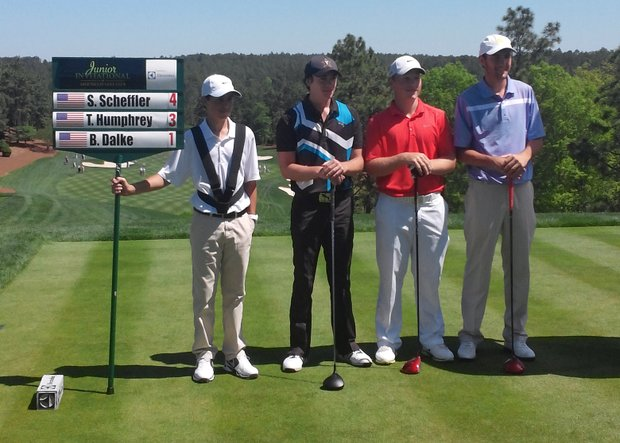 Brad Dalke, second from right, was in the final group at the 2014 Junior Invitational at Sage Valley before finishing third.