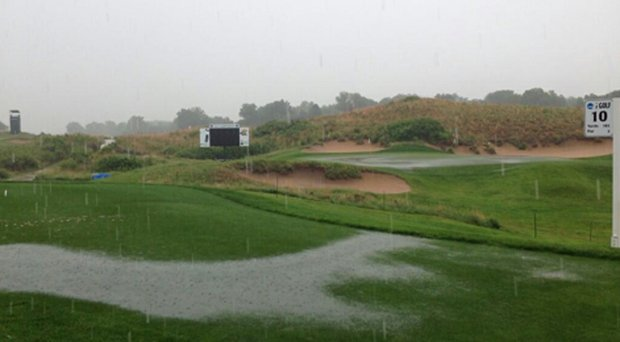 The 10th tee and 18th green at Prairie Dunes Country Club during the second weather delay.