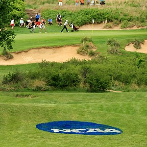 Round 1 is underway after being suspended on Friday at the NCAA Men's Division 1 Championship at Prairie Dunes Country Club in Hutchinson, Kan.