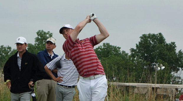 Iowa State's Collin Foster during the first round of the NCAA Championship at Prairie Dunes Country Club.