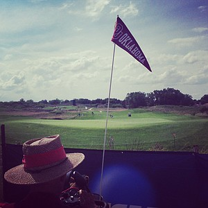 An Oklahoma Sooner fan during the NCAA Championship at Prairie Dunes Country Club in Hutchinson, Kan.