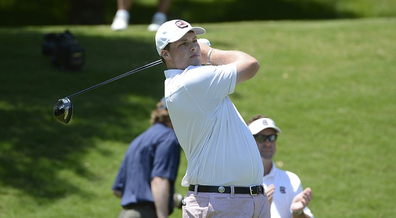 South Carolina's Will Starke fired an opening-round, 6-under 64 at the NCAA Championship in Hutchinson, Kan.