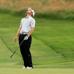 Auburn's Jake Mondy reacts to a shot at No. 7 on Monday of the NCAA Men's Division 1 Championship at Prairie Dunes Country Club in Hutchinson, Kan.