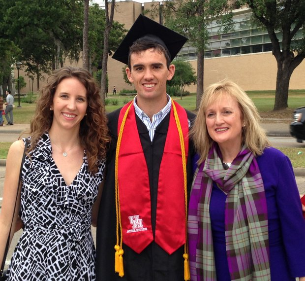 Houston senior James Ross, with girlfriend Meghan Ness (left) and mother Mary Ross, graduated this spring with a degree in liberal studies.