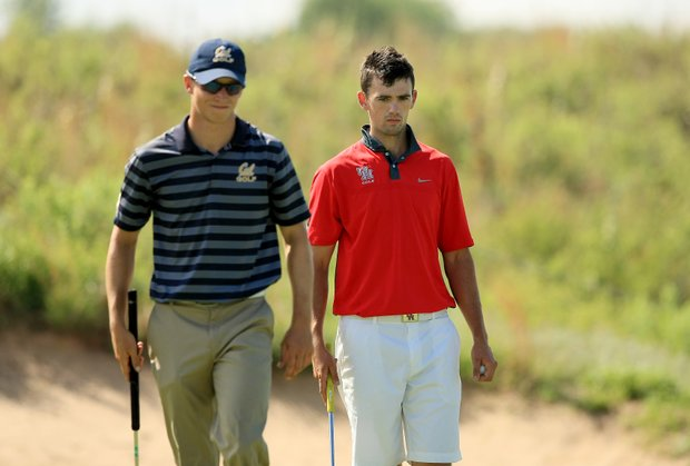 University of Houston's James Ross played alongside California's Brandon Hagy in Round 3 on Monday of the NCAA Men's Division 1 Championship at Prairie Dunes Country Club in Hutchinson, Kan.