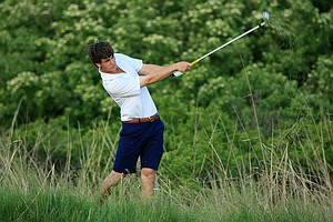 Georgia Tech's Ollie Schniederjans during the final playoff hole on Monday of the NCAA Men's Division 1 Championship at Prairie Dunes Country Club in Hutchinson, Kan.