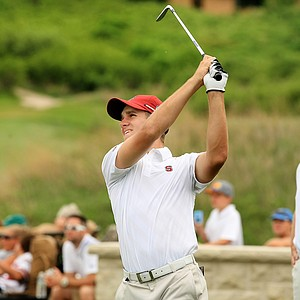 Stanford's Patrick Rodgers on Monday of the NCAA Men's Division 1 Championship at Prairie Dunes Country Club in Hutchinson, Kan.