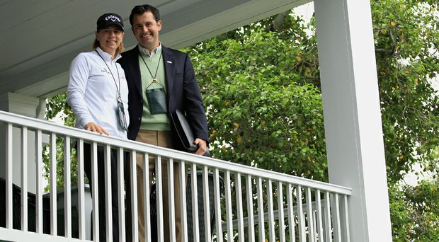 Annika Sorenstam (left) is married to Jerry McGee's son, Mike (right).