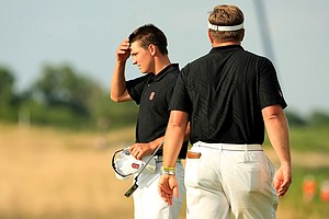 Stanford's David Boote looks back at the hole at  No. 16 after losing to Oklahoma State's Zachary Olsen during Tuesday semifinals of match play of the NCAA Men's Division 1 Championship at Prairie Dunes Country Club in Hutchinson, Kan.