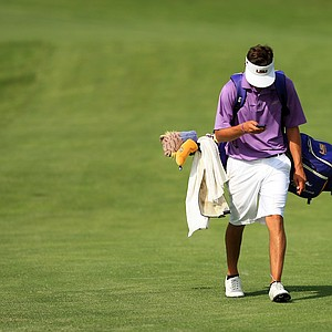 LSU's Curtis Thompson makes his way back to the clubhouse after being defeated by Trey Mullinax, 4&2 during Tuesday semifinals of match play of the NCAA Men's Division 1 Championship at Prairie Dunes Country Club in Hutchinson, Kan.