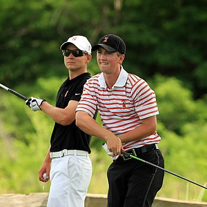 Oklahoma State's Zachary Olsen, right, and Stanford's David Boote at No. 7 during Tuesday semifinals of match play of the NCAA Men's Division 1 Championship at Prairie Dunes Country Club in Hutchinson, Kan.