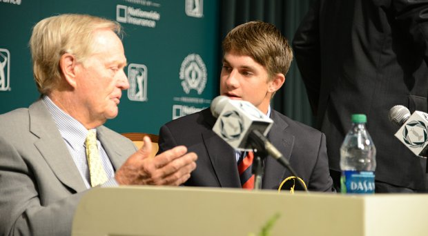 Jack Nicklaus and Patrick Rodgers chat after Rodgers was named one of the Jack Nicklaus Award recipients for 2014.