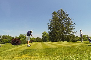 Matthew McMahan tees off to start his the second round on No. 1 at Old Oaks Country Club in Purchase, N.Y.