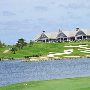 A look at the Quail Valley clubhouse from the 18th tee box during the U.S. Open Sectional Qualifier in Vero Beach, Fla.