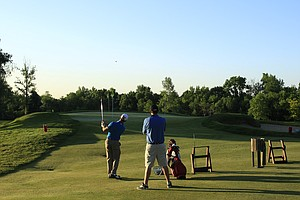 Practice takes place during the sectional qualifier at Purchase, N.Y., for the 2014 U.S. Open at Pinehurst.