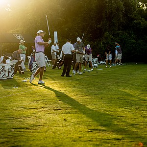 Players warm up prior to the start of the U.S. Open Sectional Qualifier at Lakeside Country Club in Houston.