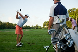Will Kropp warms up on the range at the U.S. Open Sectional Qualifier at Lakeside Country Club in Houston.