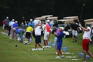 Players warm up on the range prior to the start of the U.S. Open Sectional Qualifier at Springfield (Ohio) Country Club on June 2.