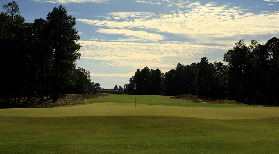 The second hole at Pinehurst No. 2, site of the 2014 U.S. Open.