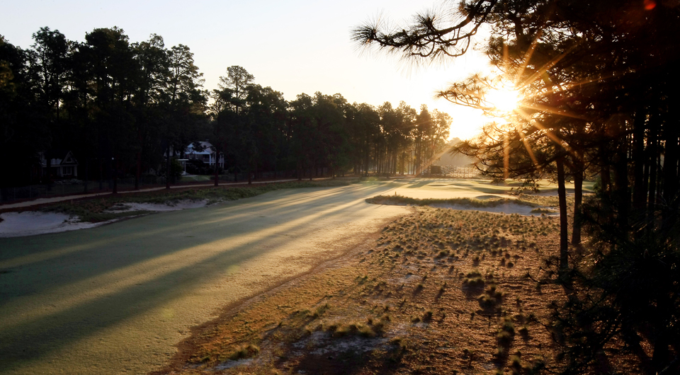 The third hole at Pinehurst No. 2, site of the 2014 U.S. Open.