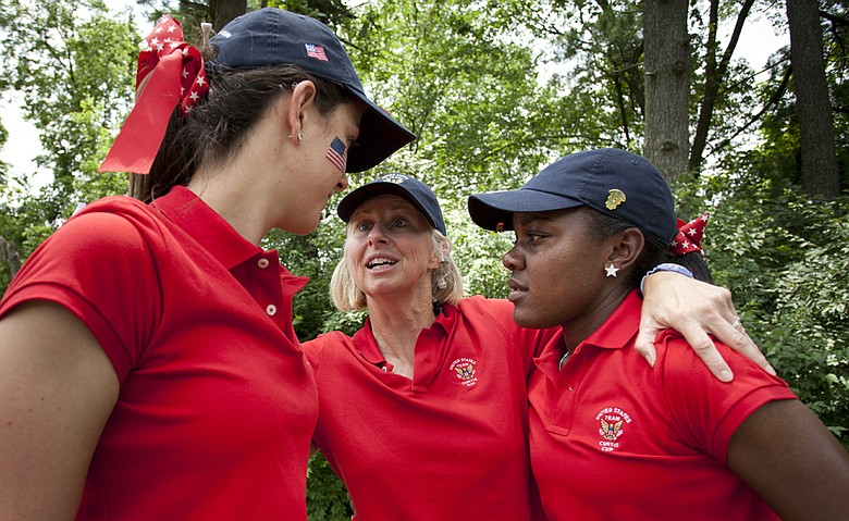 U.S. captain Ellen Port with Mariah Stackhouse (right) and Emma Talley during the morning four-ball match of the 2014 Curtis Cup.