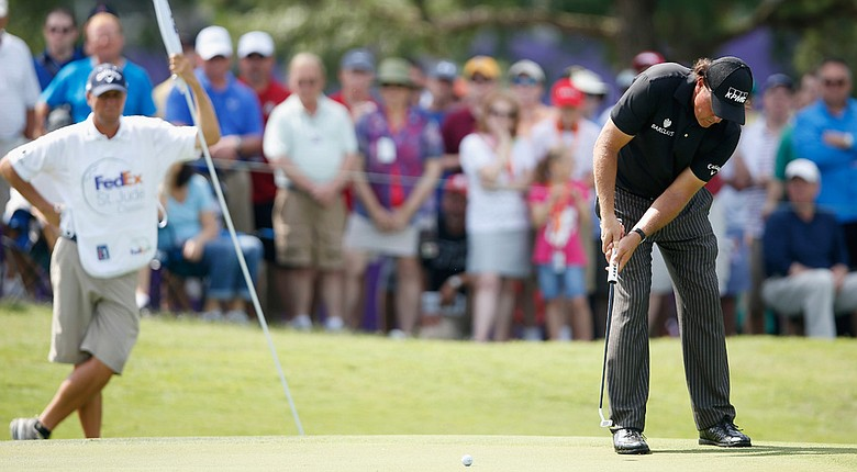 Phil Mickelson during his second round Saturday at the FedEx St. Jude Classic at TPC Southwind in Memphis.
