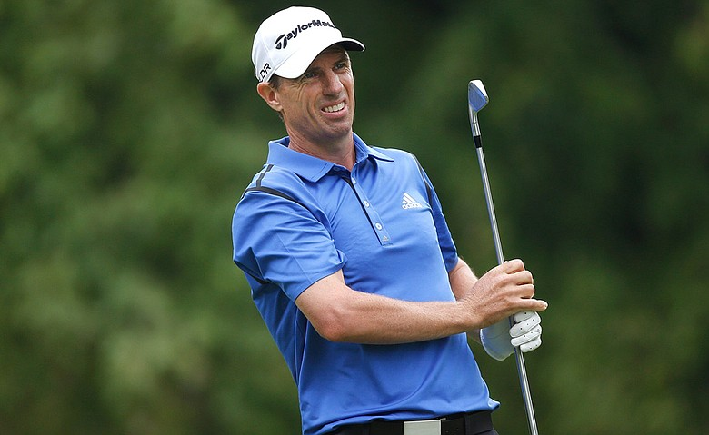 Steven Alker watches his tee shot on the fifth hole during the final round of the Web.com Tour Cleveland Open at the Lakewood Country Club.