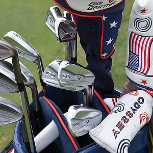 Patrick Reed has Callaway X Forged long irons and Razr X Muscleback irons in his bag on Monday, along with the new Mack Daddy 2 Tour Grind wedges.