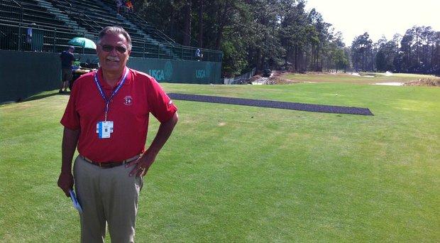 Bob Farren sits on the tee box of the next par-3 sixth hole at Pinehurst No. 2.