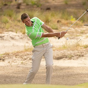 Brandon McIver, a rising junior at Oregon, during Monday's practice round for the 2014 U.S. Open at Pinehurst No. 2.